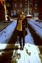 black H&M boots - black Forever 21 coat - navy H&M jeans - mustard gift scarf