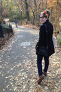 Navy-bdg-jeans-black-forever-21-jacket-carrot-orange-hermes-scarf