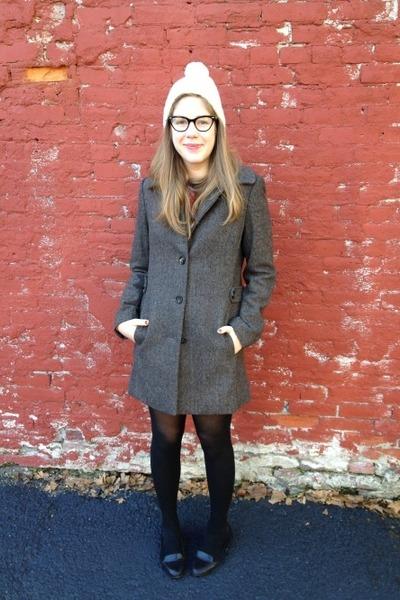 heather gray H&M coat - off white H&M hat - black xhiliration flats