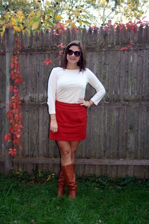 burnt orange H&amp;M skirt - tawny boots - ivory JCrew shirt