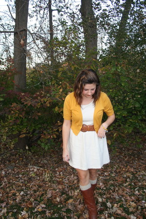 eggshell dress - brown boots - light brown socks - tawny belt - gold cardigan