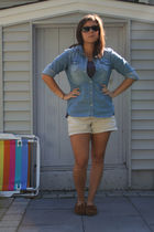 blue American Eagle shirt - purple Old Navy shirt - beige Old Navy shorts - brow