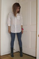 white H&M blouse - navy lace up buckle Toi et Moi boots