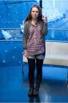 red Zara shirt - gray cardigan - blue Zara shorts - black random brand tights -