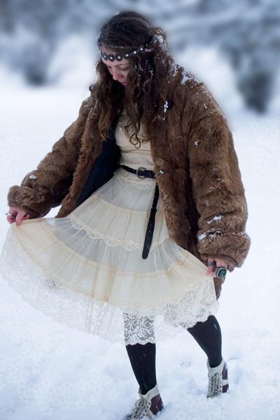 white Chloe dress - brown coat - brown H&M tights - brown shoes - brown random b