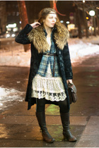 white dress - blue shirt - blue desigual coat - brown H&M - black Urban Outfitte