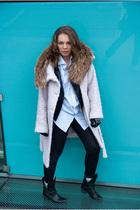 pink H&M coat - blue random shirt - black Zara jacket - black Only leggings - br
