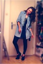blue Miss Selfridge dress - blue Mango dress - black leggings - black boots