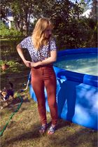 blue Urban Outfitters blouse - orange American Apparel pants - blue Aldo shoes -