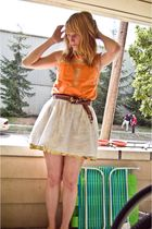 orange Forever 21 shirt - brown Anthropologie belt - white Target skirt