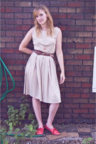 beige vintage dress - red Anthropologie shoes - brown Anthropologie belt
