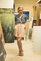 blue Urban Outfitters blouse - beige Urban Outfitters dress - brown vintage shoe