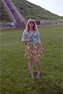 White-urban-outfitters-blouse-green-top-yellow-target-skirt-blue-aldo-shoe
