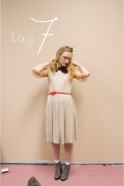 Urban Outfitters boots - vintage dress - HUE tights - vintage blouse - vintage f