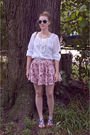 White-urban-outfitters-blouse-pink-pitaya-skirt-blue-aldo-shoes-white-neck