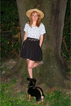 white vintage blouse - black Urban Outfitters skirt - Colonial Williamsburg hat