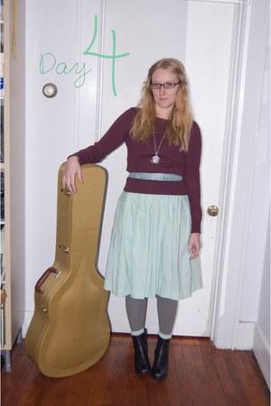 black Enzo boots - aquamarine vintage dress - deep purple Gap sweater