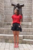 red Mango shirt - black Zara shorts - red JustFab sandals