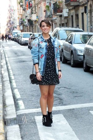 black Mango dress - sky blue pull&bear jacket
