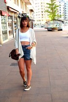 ivory cotton Zara jacket - blue Zara shorts - white cotton Zara top