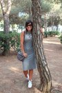 Heather-gray-h-m-dress-black-rodenstock-sunglasses-white-adidas-sneakers