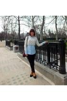 light blue denim shirt Stradivarius blouse - beige cotton Zara sweatshirt