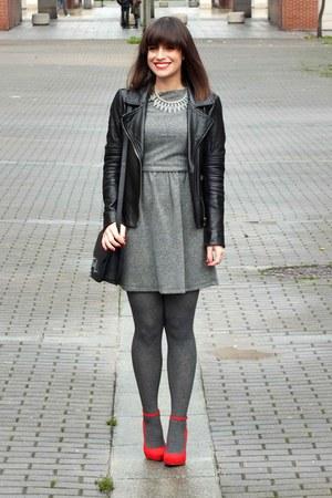 red Bershka shoes - gray suiteblanco dress - black Mango jacket