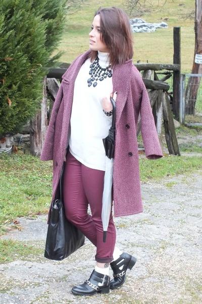 maroon Bimba & Lola coat - black booties Zara boots