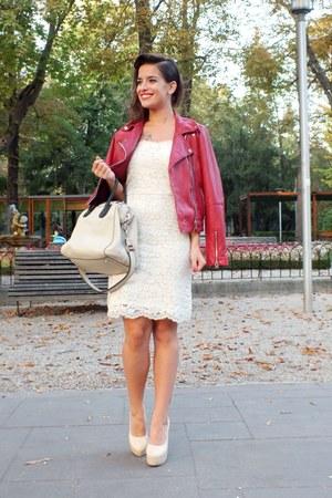 off white Zara dress - ruby red Mango jacket