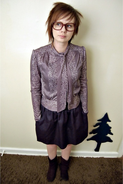 black vintage blouse - blue rugged wearhouse skirt - black Macys boots