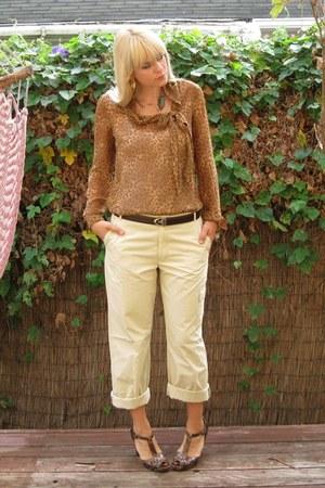 bronze animal print merona blouse - brown snakeskin stuart weitzman heels
