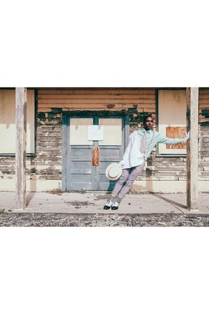 Louis Vuitton shoes - JCrew blazer - Prada shirt - Burberry socks