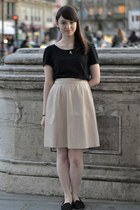 light pink Mercury Duo skirt - black dress as shirt Monki dress - black flats