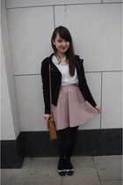 light pink leatherette H&M skirt - black Forever21 jacket