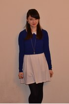 white dress as skirt Uniqlo dress - blue Zara jumper