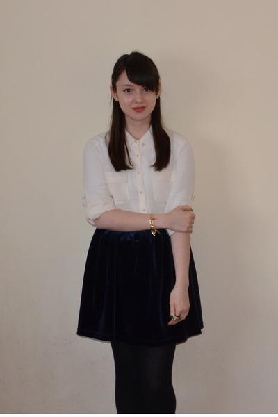 navy velvet Ebay skirt - ivory new look shirt