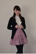 ivory Shikha London dress - black M&S cardigan - pink Monsoon skirt