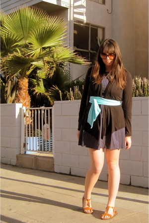 vintage dress - black Splendid cardigan - blue American Apparel - brown - Marc b