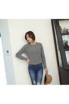 Warn spring knit ANGORA MIXED CROP TOP KNIT by Spicy Avenue