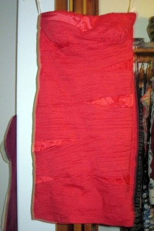 red strapless SNAP dress