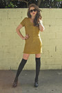 Gold-spirit-animals-dress-black-target-tights-black-seychelles-heels