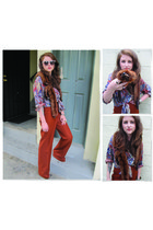 thrifted vintage pants - thrifted vintage top - thrifted vintage accessories