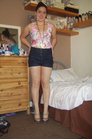 beige Topshop shoes - blue Topshop shorts - white floral Primark top