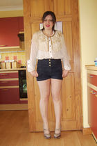 brown Topshop shoes - blue Topshop shorts - white new look blouse