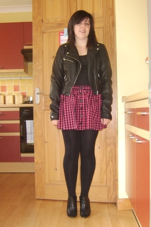 H&M jacket - new look top - Topshop skirt - new look tights - Debenhams shoes
