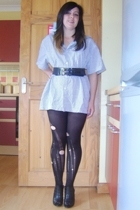 Fred Preey shirt - diy Primark tights - Debenhams shoes - unknown brand belt