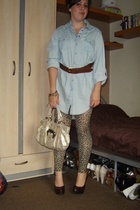 Topshop shirt - H&M belt - River Island purse - Peacocks tights - new look shoes