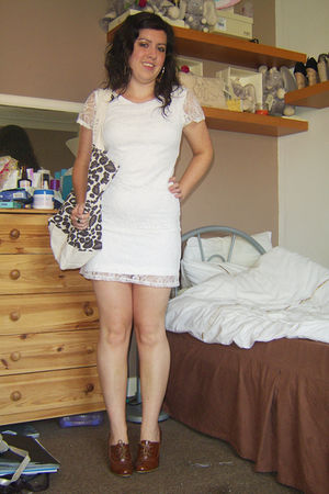 white Internacionale dress - brown Reiss accessories - gold Topshop earrings - b