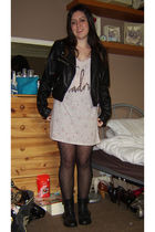 black H&M jacket - black Topshop top - new look tights - black Peacocks boots