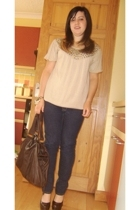 Gold by Giles Deacon top - new look jeans - new look bracelet - Topshop purse -